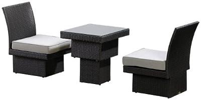 Ambientehome Polyrattan Sitz- / Essgruppe inkl. Kissen Tunis, gold/braun, 4-teiliges Set