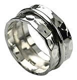 Interessanter gehämmerter 925er Silberring 10mm, Größe:Größe 56 (17.8 mm)