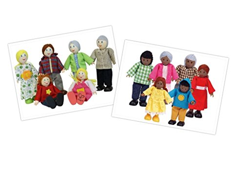 Set Multikulturelle Familien / Kinderspielzeug / Puppenhaus