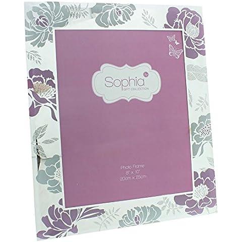 Sophia-Specchio: 33 cm, in vetro, & White & Pink Floral 20,32 Photo Frame (8 cm x 25,40 (10 cm