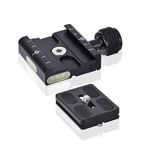 UTEBIT Kameraplatten Kompatibel für Arca Swiss 50mm Einstellbar Stativ Adapterplatte mit Gradienter QR Schnellwechselplatte Quick Release Plate Kompatibel für RRS Kirk