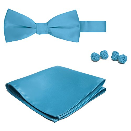 Jacob Alexander Solid Color Men's Bowtie Hanky and Cufflink Set - Turquoise Blue (Button-down-tuxedo)