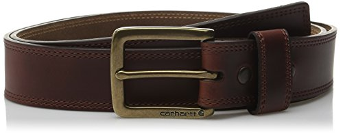 Carhartt Men's Double Row Stitching Snap Fasteners Brass Buckle, Brown, 42