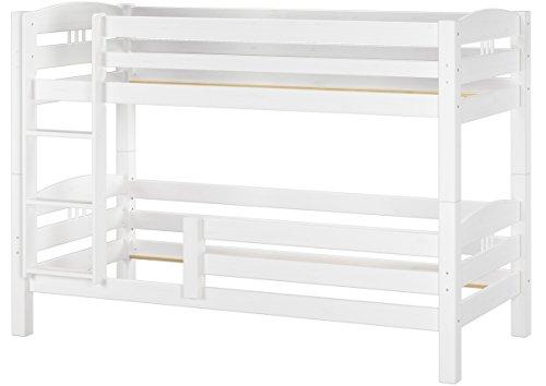 Erst-Holz® Kinderstockbett Etagenbett Kiefer massiv weiß 90x200 cm Hohes Bett Fallschutz 60.10-09 W oR F