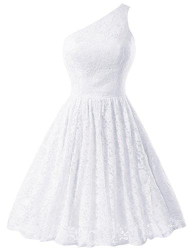 Dresstells Robe courte de soirée de cocktail Robe de demoiselle d'honneur une épaule en dentelle Blanc