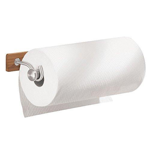 iDesign Küchenrollenhalter, wandmontierter Papierrollenhalter aus Bambus und Edelstahl, Wandrollenhalter für 1 Rolle Küchenkrepp, braun und mattsilberfarben