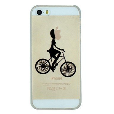 iPhone 5S Case, WBowen The Girl Riding The Bicycle Pattern PC Hard Transparent Back Cover Case for iPhone 5/5S