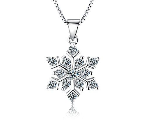 ROTY 45 CM Schneeflocken 925 Sterling Silber Kette Damen Halskette Schmuck Anhänger, Geburtstagsgeschenke Muttertagsgeschenke Weihnachtsgeschenke Valentinstag Geschenk Thanksgiving Tag Geschenke