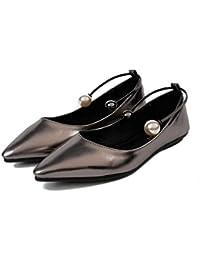 SHINIK Mujeres Cerrado-Toe Bombas Corte Zapatos Ankle Strap Bombas Verano Nuevos zapatos planos Señal Boca Raso zapatos Prueba pie Anillo Perla Zapatos Zapatos de fiesta Zapatos de plataforma , silver , 35