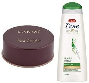 Lakme Rose Face Powder, Warm Pink, 40g & Dove Hair Fall Rescue Shampoo, 340ml