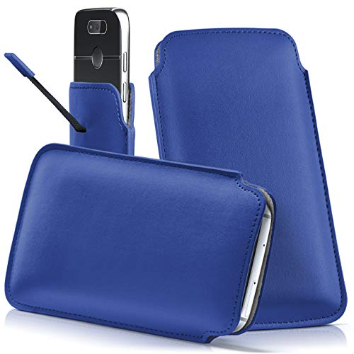 moex Emporia Flip Basic | Hülle Blau Sleeve Slide Cover Ultra-Slim Schutzhülle Dünn Handyhülle für Emporia Flip Basic Case Full Body Handytasche Kunst-Leder Tasche