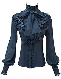 3597f2c663 Camisa de Gasa para Mujer - Blusas de Manga Larga Lolita Camisa con  Volantes Tops Hollow