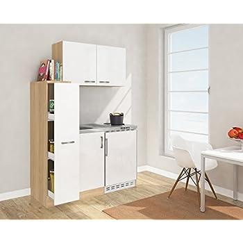 Respekta mini küche singleküche 130 cm inkl oberschrank eiche sägerau nachbildung front weiß mk 130