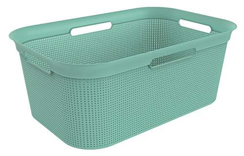 Rotho Brisen Wäschekorb 40 l, Kunststoff (PP), grün, 40 Liter (60 x 40 x 23,2 cm)