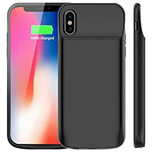 EDIO 2 Ezone iPhone X/Xs/10 Battery Case 3200mAh Slim Portable Extend Battery Charger Case, Bluetooth Earphone/Lightning Cable Rechargeable Power Bank Charging Case for iPhone X/Xs/10 (Black)
