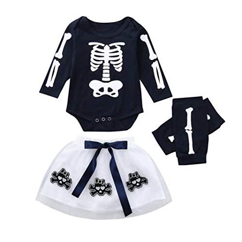 Halloween kostüm,Transwen Kleinkind Baby Mädchen Strampler Appliques Skull Rock Leggings Halloween kinderkostüme Spielanzug Outfits Kleider Set (70, Marine)