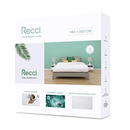 Recci coprimaterasso 180x200 - coprimaterasso impermeabile 180x200, 100% bambu copri materassi, proteggi materasso, super morbido, altamente traspirante, silenzioso [ 180x200 cm ]