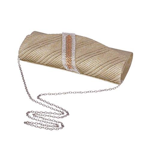 Damara® Glitzer Damen Lang Clutch Falten Abendtaschen Mit Strassstein Weiß