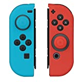 WindTeco 1 Paire Coque De Protection Housse Etui en Silicone et 2 Thumb Grips Caps Gel pour Nintendo Switch Joy-Con Controller (1 Bleu + 1 Rouge)