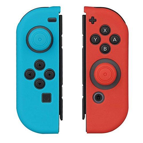 Funda Protectora de Silicona para Nintendo Switch – WindTeco Funda Protectora de Silicona Suave Antideslizante y Cubierta para el Pulgar para Nintendo Switch Joy-Con. (Azul y Rojo)