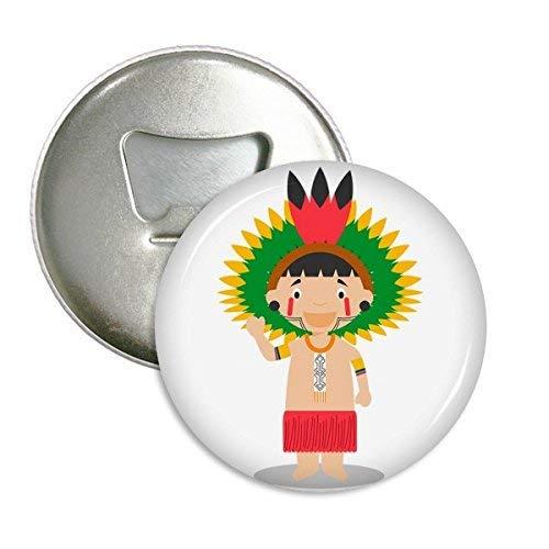 Rojo Amazon Brasil Venezuela Cartoon redondo abridor de botellas imán para frigorífico Insignia Botón 3Pcs regalo