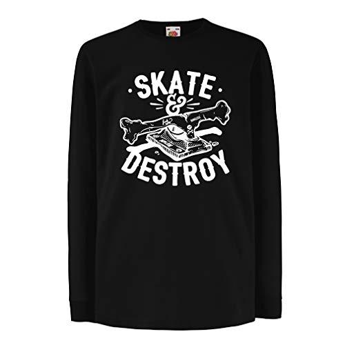 lepni.me Kinder-T-Shirt mit Langen Ärmeln Skaten und zerstören, Geschenk für Skater, Skateboardliebhaber (3-4 Years Schwarz Mehrfarben) (Ringen Rink)