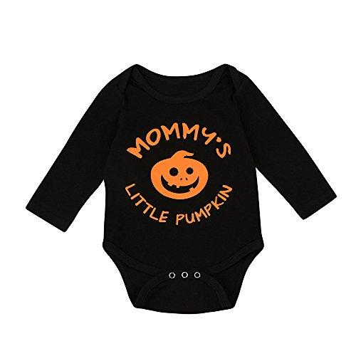 OVERDOSE Säuglings Baby Jungen Mädchen Halloween My First Halloween Buchstabe Lange Hülsen Spielanzug Overall Kleidung Outfits Romper Jumpsuits (0-3 Monate, A-Schwarz3)