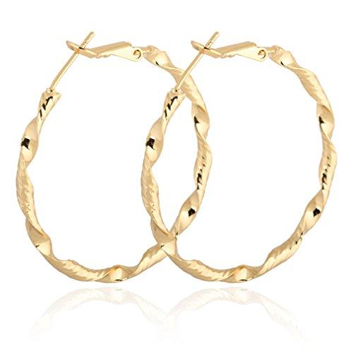 Yazilind Gold plattiert Elegante Vogue 18K Twisted-Extra Large Omega Zur¨¹ck Creolen 40mm Durchmesser (Twisted Gold Creolen)