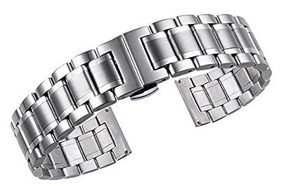 correas de reloj de metal de lujo tipo sólido de acero inoxidable con extremos curvos y rectos