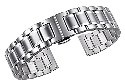 24mm Men's Deluxe Wide Solid Stainless Steel Watch Bracelets Wristbands with Both Curved and Straight