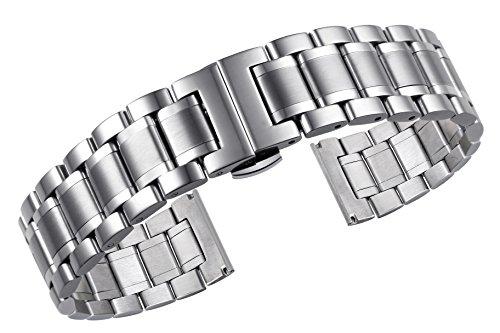 19mm LuxuxEdelstahl Uhrbändern massivem Metall schwere Ausführung gekrümmten Enden geraden Enden