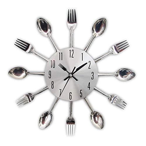 Edelstahl Küchenutensilien Uhr für Küche Déco Indoor und Outdoor, Küche Besteck Silber Wanduhr mit getönten Gabeln, Löffel, B -