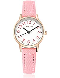 Watches for Girls Easy-Time Telling Kids Watch with Leather Strap