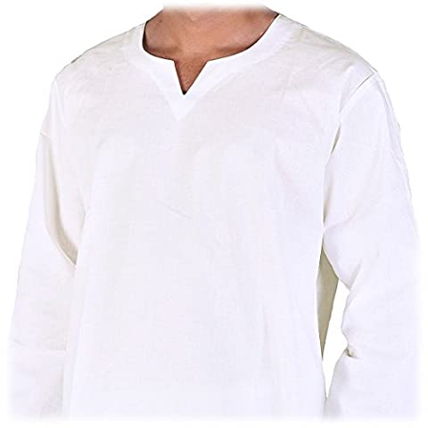 Maharanis Indisches Hemd Kurti für den Herren Baumwolle weiß