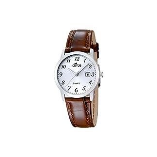 Lotus 1824/02 – Reloj de Cuarzo para Mujer, Esfera Blanca analógica y Correa de Cuero marrón
