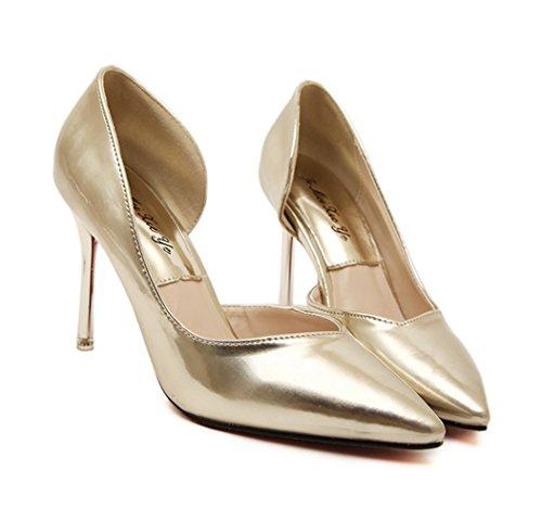 Damen Pumps High-Heels Spitz Zehen Slip on Hohl Atmungsaktiv Lackleder Rutschhemmend OL Elegant Bequem Freizeit Büro Modisch Stiletto Gold