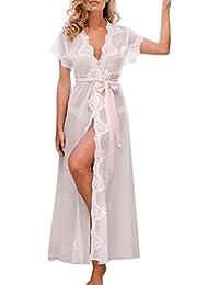 1f972afd1503a2 Sansee Damen Kimono Morgenmantel Bademantel Lang Spitze Schlafanzug  Nachtwäsche Satin V-Ausschnitt mit Gürtel Große…