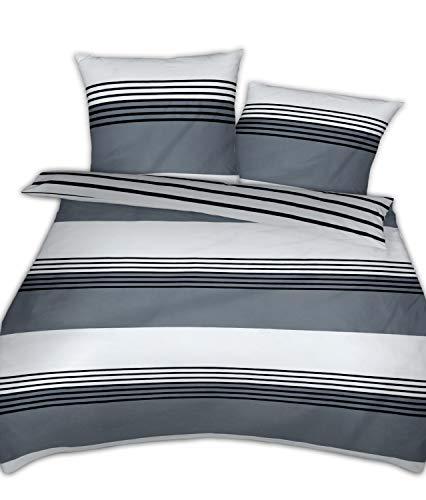Janine Mako Satin Bettwäsche Silber schwarz 200 x 220 cm + 2 x 80 x 80 cm feinfädige Wendebettwäsche