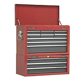 Sealey Red 12 Drawer Top Chest Tool Box Storage Add On Middle Ball Bearing Slide