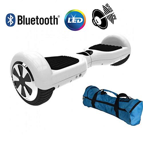 """United Trade Hoverboard Elettrico Monopattino Elettrico Autobilanciato Overboard, Balance Scooter Skateboard con Luci LED & Bluetooth, Due Ruote 6.5\"""" Bianco UL 2272, Confezione Regalo, Omaggio Borsa"""