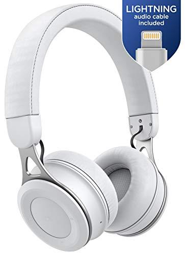 Auriculares Thore Bluetooth para iPhone con Cable Lightning - Auriculares Inalámbricos Ajustables Livianos en el Oído (Certificado MFI) para iPhone X de Apple, XR, XS MAX (Blanco)