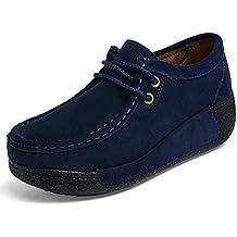 Z.SUO Mocassins Femmes Suède Casuel Confort Chaussures Loafers