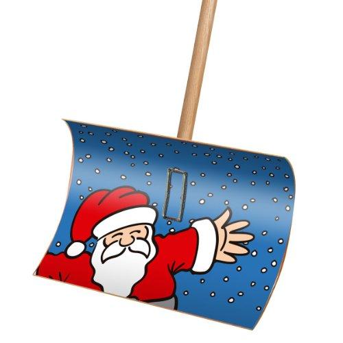 Premium Schneeschieber Schneeschaufel Holz mit Motiv Weihnachtsmann 55x35x135cm