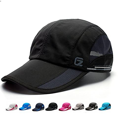 GEEAUASSD Quick Dry Sports Hat Lightweight Breathable Soft comfortable Outdoor Run Cap (Black)