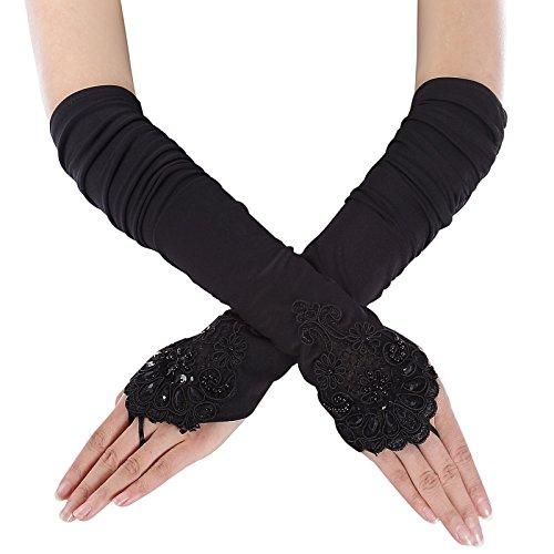 frauen schwarz handschuhe polyester handschuhe schön handschuhe für hochzeit fingerlos abendhandschuhe S/M CL10471-1 (Lang Abend Handschuhe)