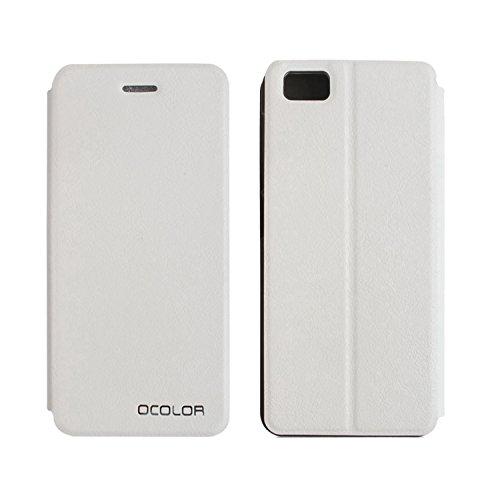 Owbb Hülle für UleFone Future Handyhülle Hard Plastik PU Ledertasche Flip Cover Tasche Hülle Case mit Stand Function Retro Klapphülle Hochwertige Design Weiß
