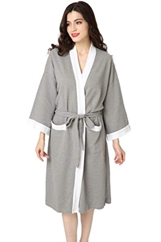 94c373c6d3f15 Aibrou Femme Homme Kimono Tissage Gaufré Peignoir de Bain Unisexe ...