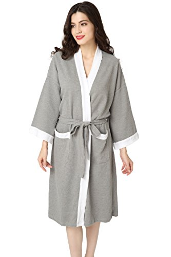 Aibrou Unisex Waffle Dressing Gown Cotton Lightweight Bath Robe for All Seasons Spa Hotel Pool Sleepwear