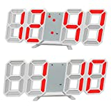 GANGHENGYU 3D LED Digital Wecker Elektronische Büro Wanduhren, 24/12 Stundenanzeige, Helligkeit Auto Dimmbare Home Küche Desktop Schlafzimmer Wohnzimmer Uhr (Rot)