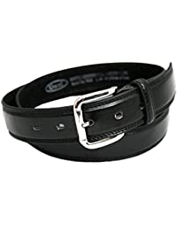 "Mens Leather Lined Belt by Ossi. Black 44"" - 48"""